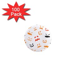 Pumpkin Faces Pattern 1  Mini Magnets (100 Pack)  by Sobalvarro