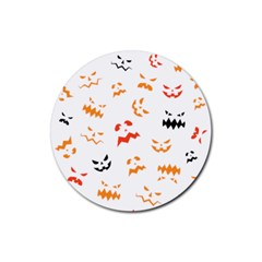 Pumpkin Faces Pattern Rubber Coaster (round)  by Sobalvarro