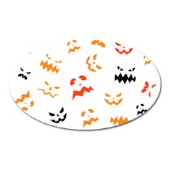 Pumpkin Faces Pattern Oval Magnet by Sobalvarro