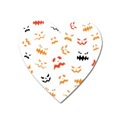 Pumpkin Faces Pattern Heart Magnet by Sobalvarro