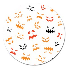 Pumpkin Faces Pattern Magnet 5  (round) by Sobalvarro
