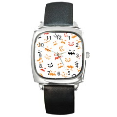 Pumpkin Faces Pattern Square Metal Watch by Sobalvarro