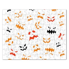Pumpkin Faces Pattern Rectangular Jigsaw Puzzl by Sobalvarro