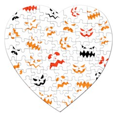 Pumpkin Faces Pattern Jigsaw Puzzle (heart) by Sobalvarro