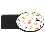 Pumpkin Faces Pattern USB Flash Drive Oval (4 GB) Front