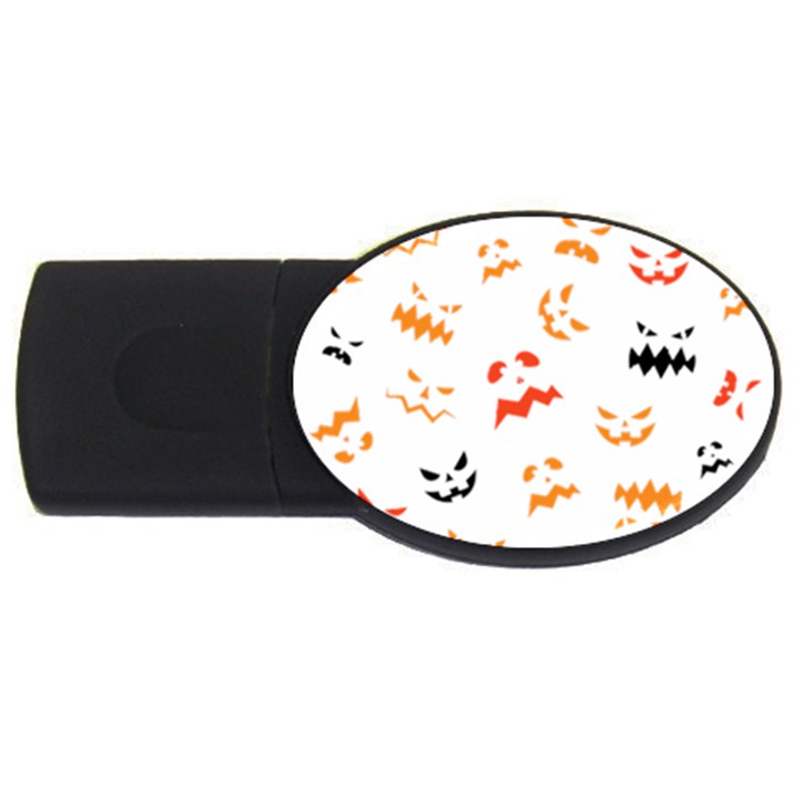 Pumpkin Faces Pattern USB Flash Drive Oval (4 GB)