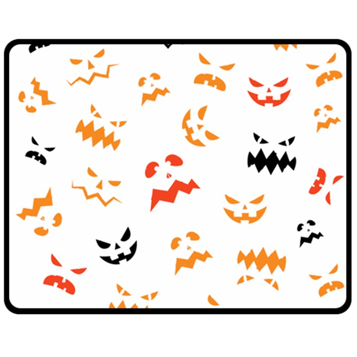 Pumpkin Faces Pattern Double Sided Fleece Blanket (Medium)