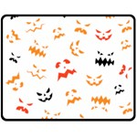 Pumpkin Faces Pattern Double Sided Fleece Blanket (Medium)  58.8 x47.4  Blanket Back