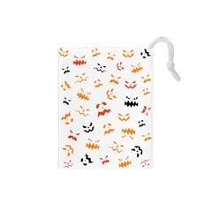 Pumpkin Faces Pattern Drawstring Pouch (small)