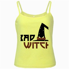 Bad Witch Design Yellow Spaghetti Tank by Sobalvarro