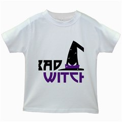Bad Witch Design Kids White T-shirts by Sobalvarro