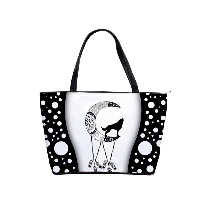 Wonderful Moon With Black Wolf Classic Shoulder Handbag