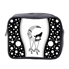 Wonderful Moon With Black Wolf Mini Toiletries Bag (two Sides) by FantasyWorld7