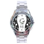 Wonderful Moon With Black Wolf Stainless Steel Analogue Watch Front