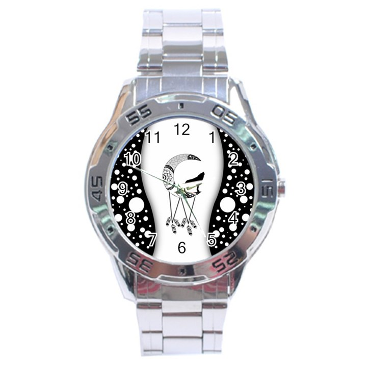 Wonderful Moon With Black Wolf Stainless Steel Analogue Watch