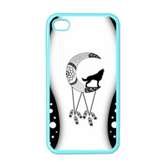 Wonderful Moon With Black Wolf Iphone 4 Case (color)