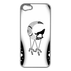 Wonderful Moon With Black Wolf Iphone 5 Case (silver) by FantasyWorld7
