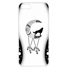 Wonderful Moon With Black Wolf Iphone 5 Seamless Case (white) by FantasyWorld7