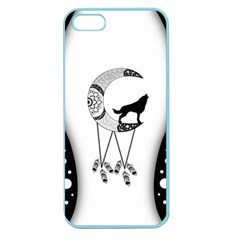 Wonderful Moon With Black Wolf Apple Seamless Iphone 5 Case (color) by FantasyWorld7