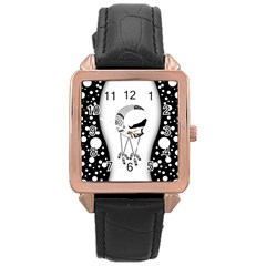 Wonderful Moon With Black Wolf Rose Gold Leather Watch