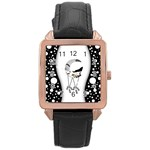 Wonderful Moon With Black Wolf Rose Gold Leather Watch  Front