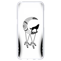 Wonderful Moon With Black Wolf Samsung Galaxy S8 White Seamless Case by FantasyWorld7