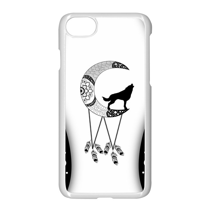 Wonderful Moon With Black Wolf iPhone 8 Seamless Case (White)
