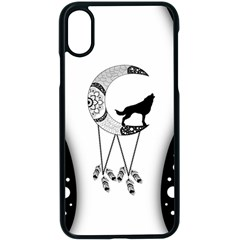 Wonderful Moon With Black Wolf Iphone X Seamless Case (black) by FantasyWorld7