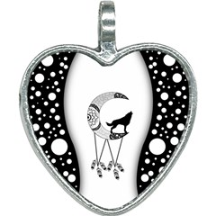 Wonderful Moon With Black Wolf Heart Necklace