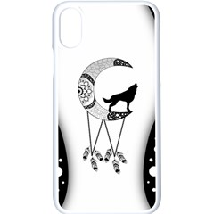Wonderful Moon With Black Wolf Iphone Xs Seamless Case (white) by FantasyWorld7