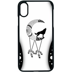 Wonderful Moon With Black Wolf Iphone Xs Seamless Case (black) by FantasyWorld7
