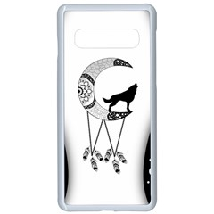 Wonderful Moon With Black Wolf Samsung Galaxy S10 Seamless Case(white) by FantasyWorld7