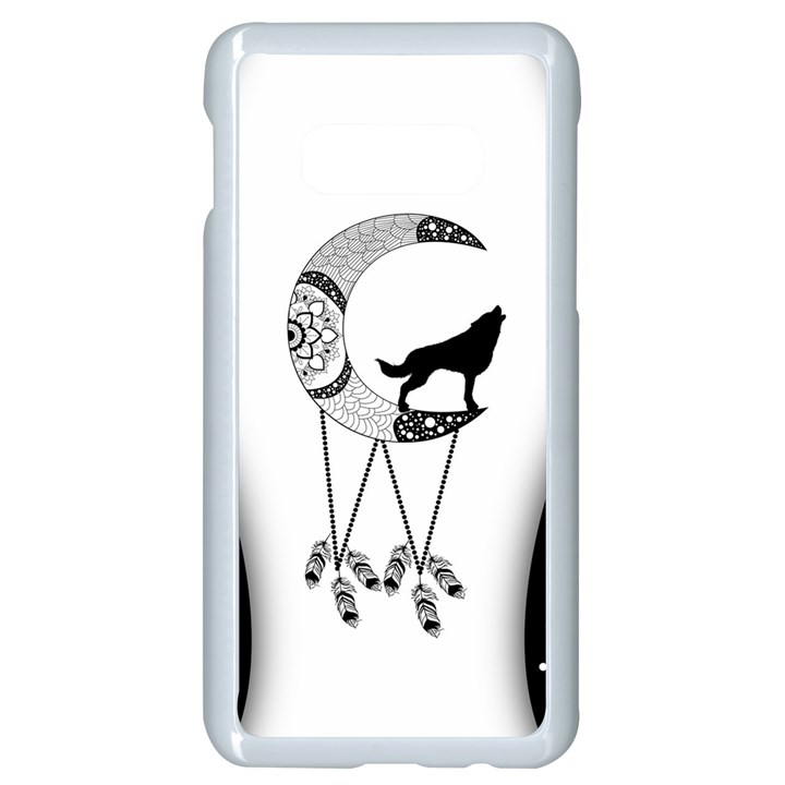 Wonderful Moon With Black Wolf Samsung Galaxy S10e Seamless Case (White)