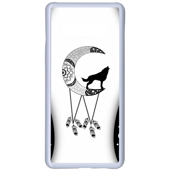 Wonderful Moon With Black Wolf Samsung Galaxy S10 Plus Seamless Case(White)