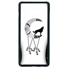 Wonderful Moon With Black Wolf Samsung Galaxy S10 Plus Seamless Case (black) by FantasyWorld7