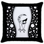 Wonderful Moon With Black Wolf Throw Pillow Case (Black) Front