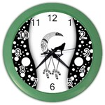 Wonderful Moon With Black Wolf Color Wall Clock Front