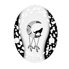 Wonderful Moon With Black Wolf Ornament (oval Filigree)