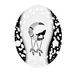 Wonderful Moon With Black Wolf Ornament (Oval Filigree) Front