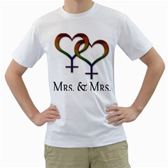 Mrs  And Mrs  Men s T-shirt (white) (two Sided) by LiveLoudGraphics