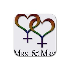 Mrs  And Mrs  Rubber Square Coaster (4 Pack)  by LiveLoudGraphics
