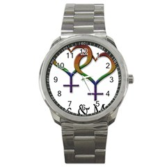 Mrs  And Mrs  Sport Metal Watch by LiveLoudGraphics