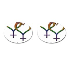 Mrs  And Mrs  Cufflinks (oval) by LiveLoudGraphics