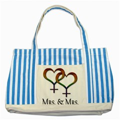 Mrs  And Mrs  Striped Blue Tote Bag