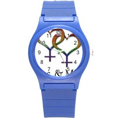 Mrs  And Mrs  Round Plastic Sport Watch (s) by LiveLoudGraphics