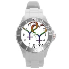 Mrs  And Mrs  Round Plastic Sport Watch (l) by LiveLoudGraphics