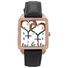 Mrs  And Mrs  Rose Gold Leather Watch