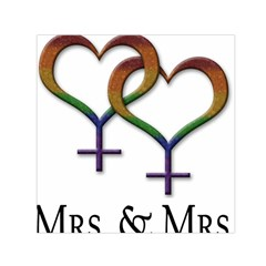 Mrs  And Mrs  Small Satin Scarf (square) by LiveLoudGraphics