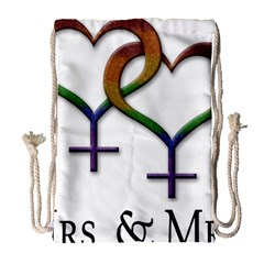 Mrs  And Mrs  Drawstring Bag (large)
