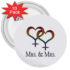 Mrs  And Mrs  3  Buttons (10 Pack)
